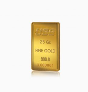 Certified Fine Gold Bar UBS 25 gram